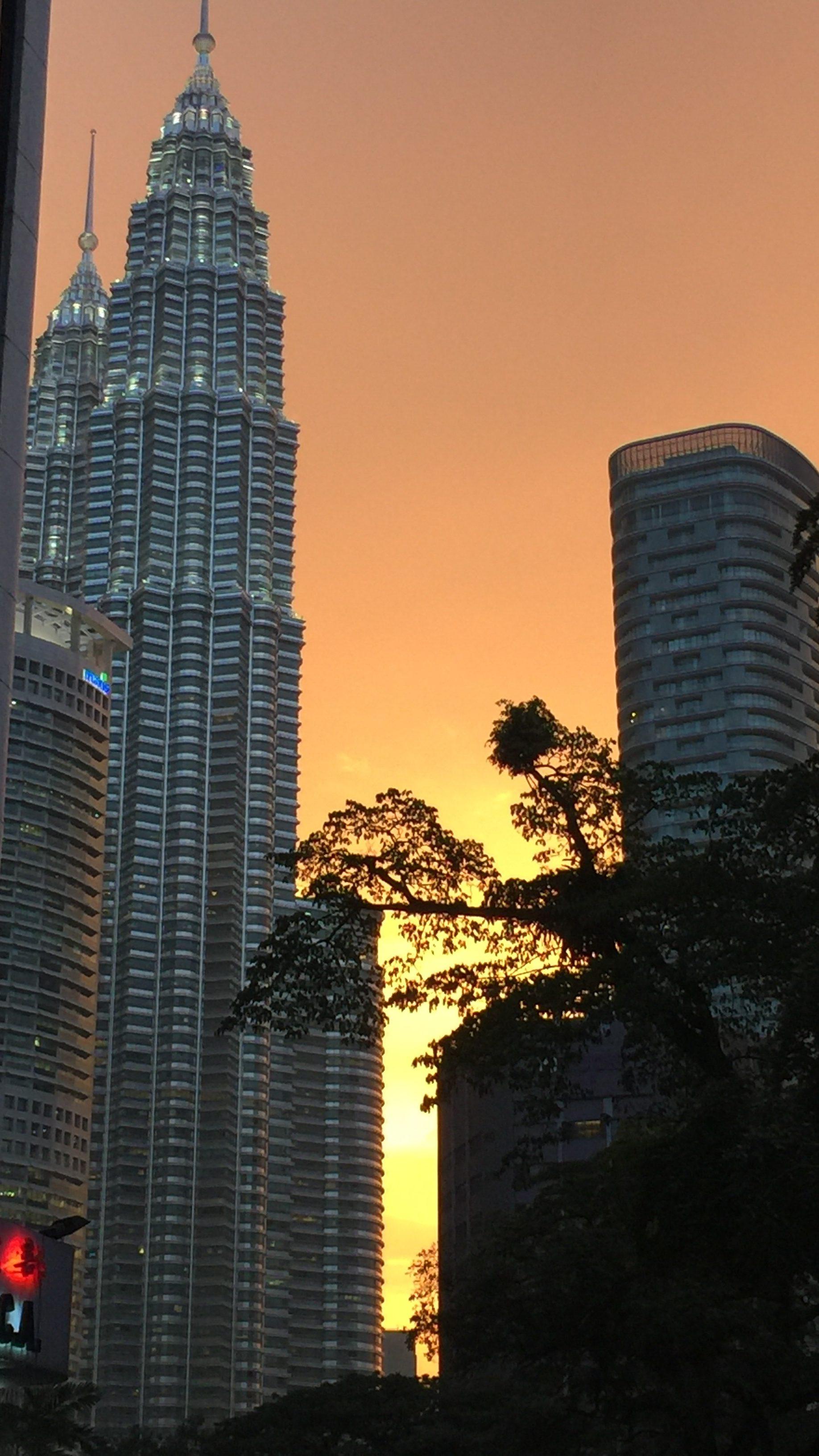 petronas twin tower in Kuala Lumpur, KL, Malaysia sunset