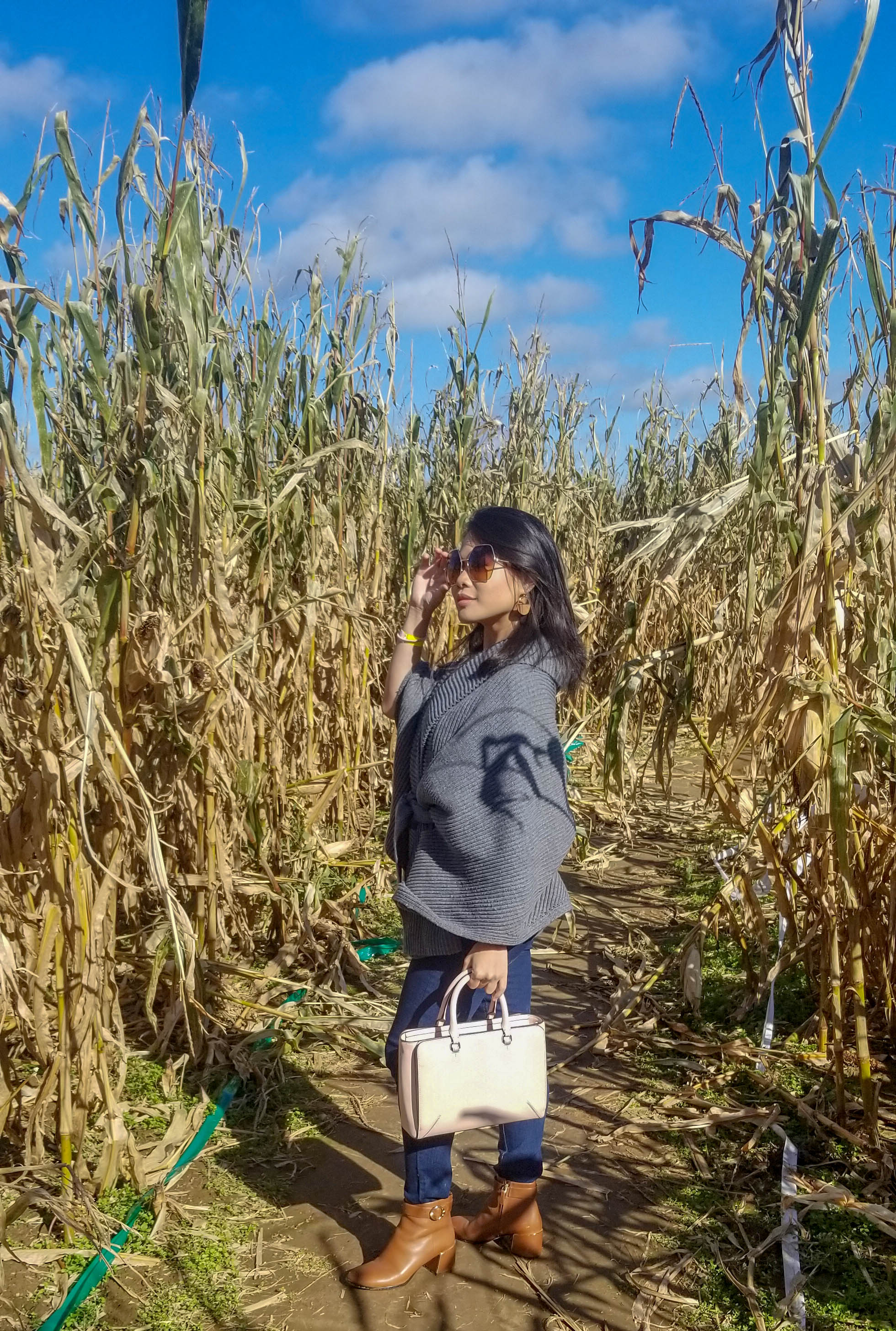 At the corn maze with dead corns