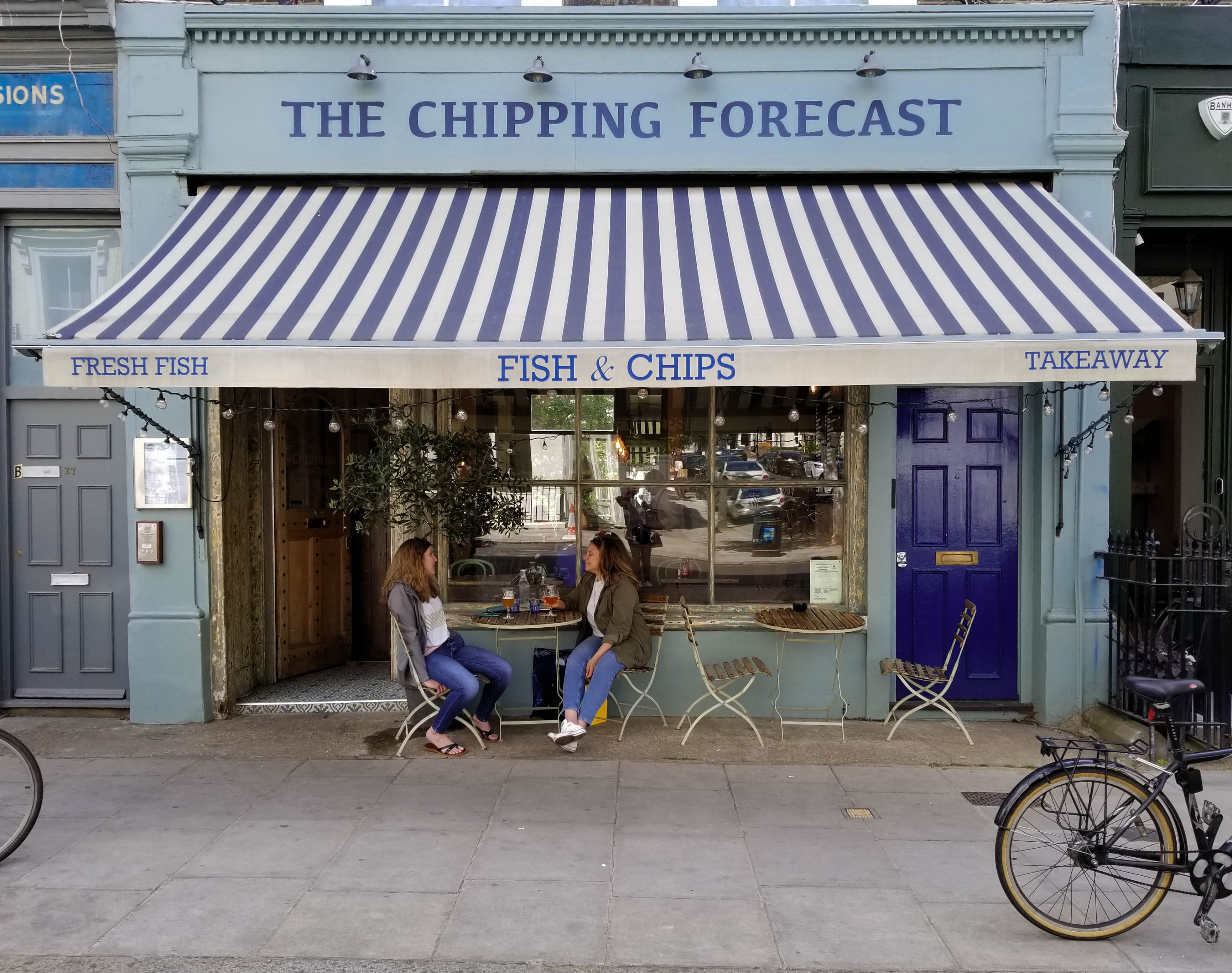 Fish and chips at The Chipping Forecast in Notting Hill, London uk england