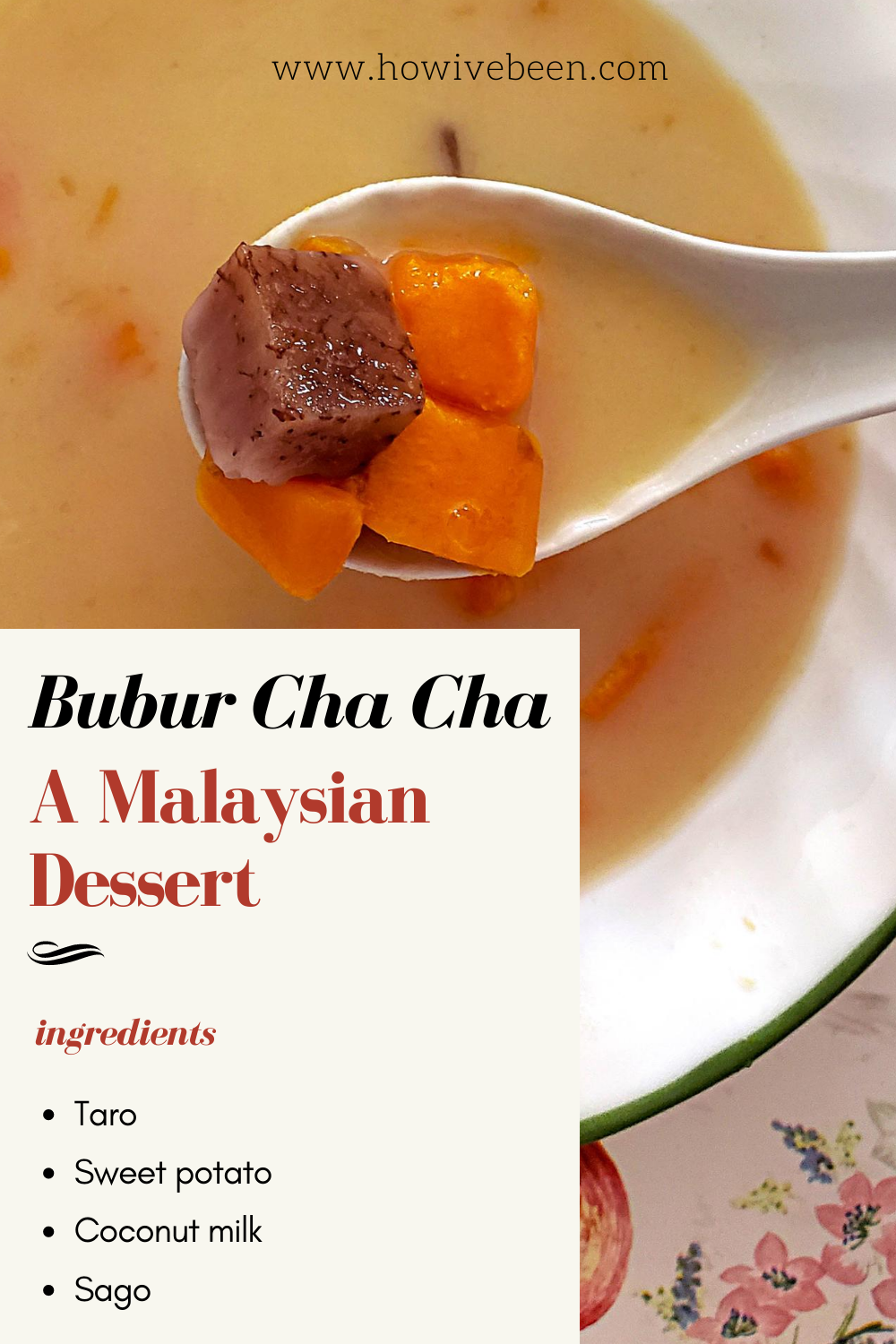 how to make bubur cha cha, a malaysian dessert