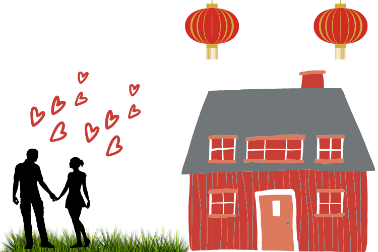 Chinese New Year and Valentine's Day in February
