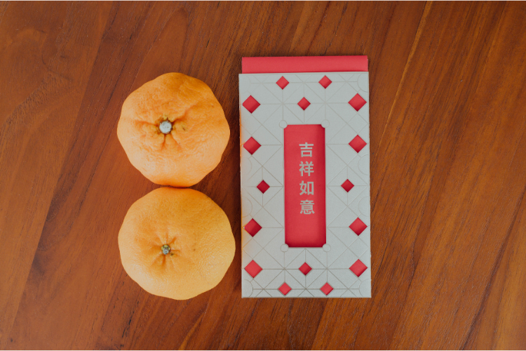 chinese new year lunar new year mandarin oranges red packet